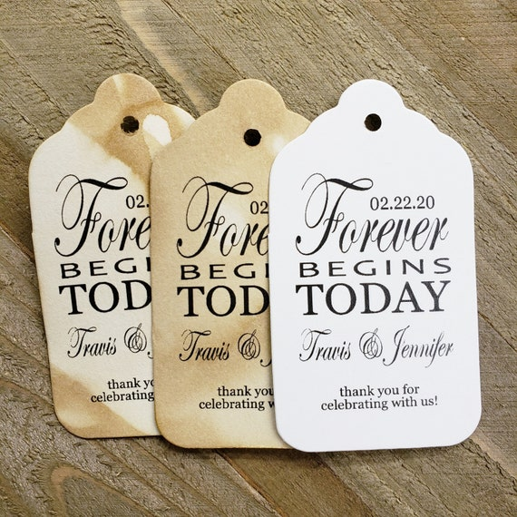 """Forever Begins Today Thank You for Celebrating with us (my MEDIUM tag) 1 3/8"""" x 2 1/2"""" Personalized Wedding Favor click options for quantity"""