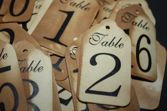"Table Number Tags (my Large tags) 1 3/4"" x 3 1/4"" choose your quantity"