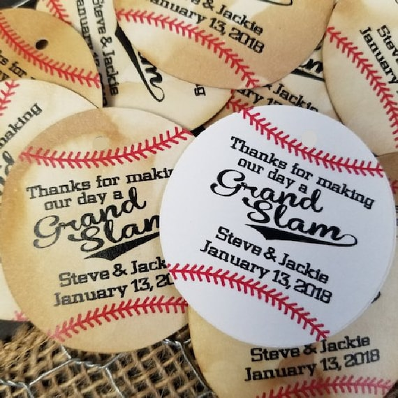 "Thanks for Making our Day a GrandSlam 2"" diameter sticker Personalized Wedding Shower Favor STICKER choose your amount"