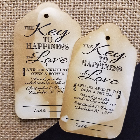 "Key to happiness is Love XLARGE 4 1/2"" x 2 7/16"" Tags Guest Tags with table number line"
