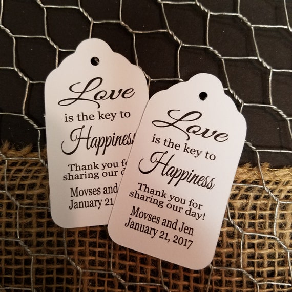 Love is the Key to Happiness favor tag MEDIUM Tags Personalize with names and date Choose your Quantity MEDIUM