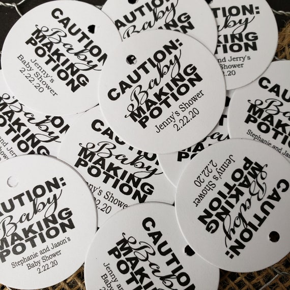 Caution : Baby Making Potion Personalized  1.5inch ROUND tag choose your amount Shower Favor tag card