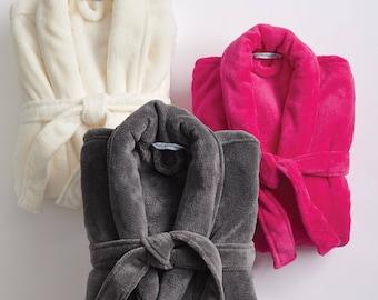 5581614621 Personalized Robe Women Men Monogram Name Plush Microfleece Shawl Collar  Gray