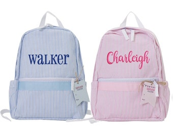 ea311efd32 Toddler Backpack Seersucker Personalized Monogrammed Preschool Blue Pink