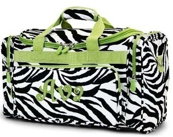 9c412886f991 Personalized Duffle Bag Zebra Lime Green Trim DANCE GYM Cheer Luggage