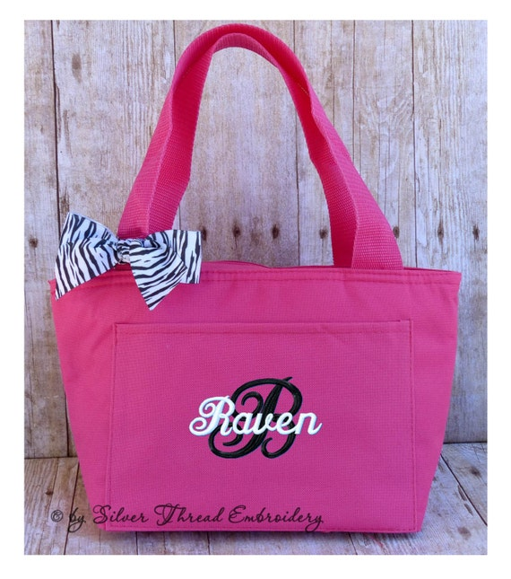 Personalized Lunch Bag Zebra Leopard Bow Insulated Monogrammed  b42873defec3b