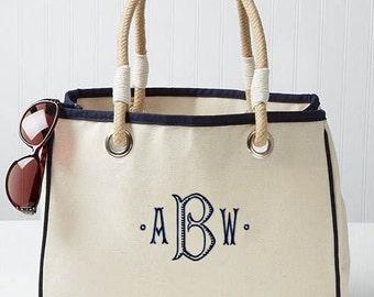 Monogram Beach Bag, Monogrammed Rope Tote Bag Natural Canvas, Bridesmaid Beach Tote 4 Colors