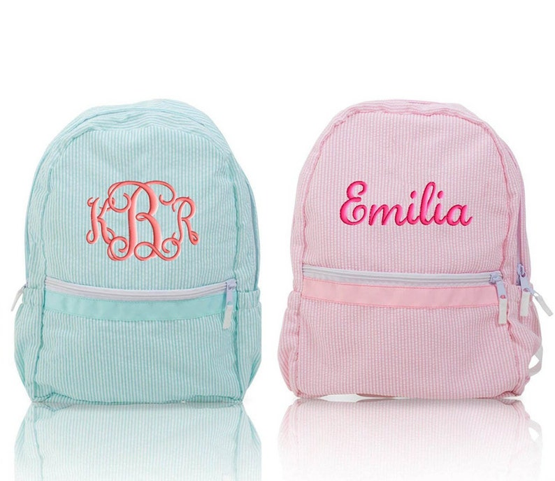 Seersucker Backpack Personalized Monogrammed Medium Size Aqua  666a2321b2ff3