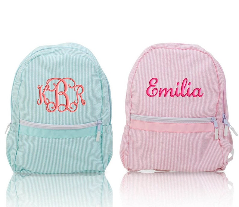 f9e8750a552a Seersucker Backpack Personalized Monogrammed Medium Size Aqua