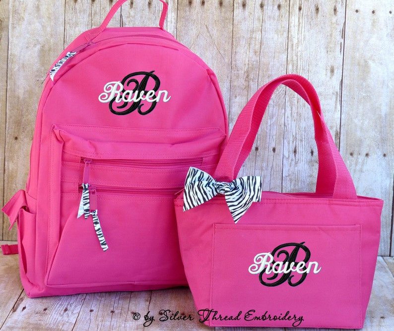 Personalized Backpack Lunch Bag Zebra Leopard Bow Monogrammed  c636ba16e06f0