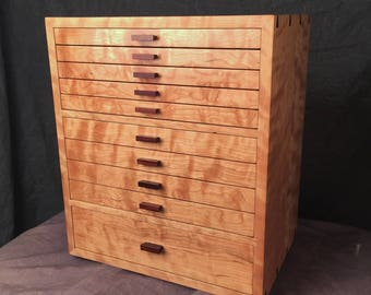 Coco's Cabinet---Jewelry Armoire Curly Cherry & Rosewood Jewelry Box---Completed and ready to ship