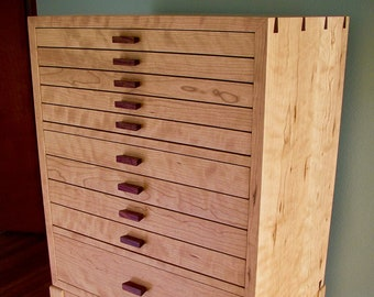 Coco's Cabinet, Jewelry Armoire Curly Cherry & Rosewood Jewelry Box