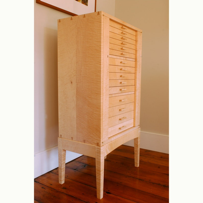 Jewelry Armoire Curly Sugar Maple Cabinet image 0