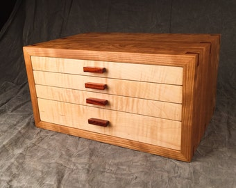Jewelry Box--Curly Cherry, Curly Maple, Rosewood Jewelry Chest--Jewelry Box