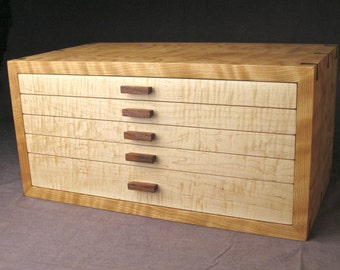 Jewelry Box--Curly Cherry, Curly Maple and Rosewood Jewelry Armoire