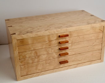 Large Jewelry Box--Large Curly Cherry and Rosewood Jewelry Box