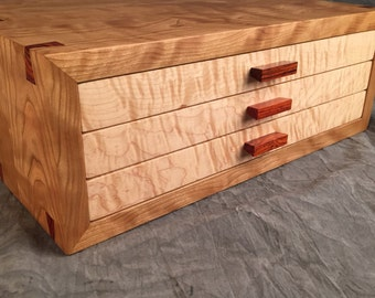 Jewelry Box--Curly Cherry, Curly Maple, Rosewood  Jewelry Box---Large Jewelry Chest