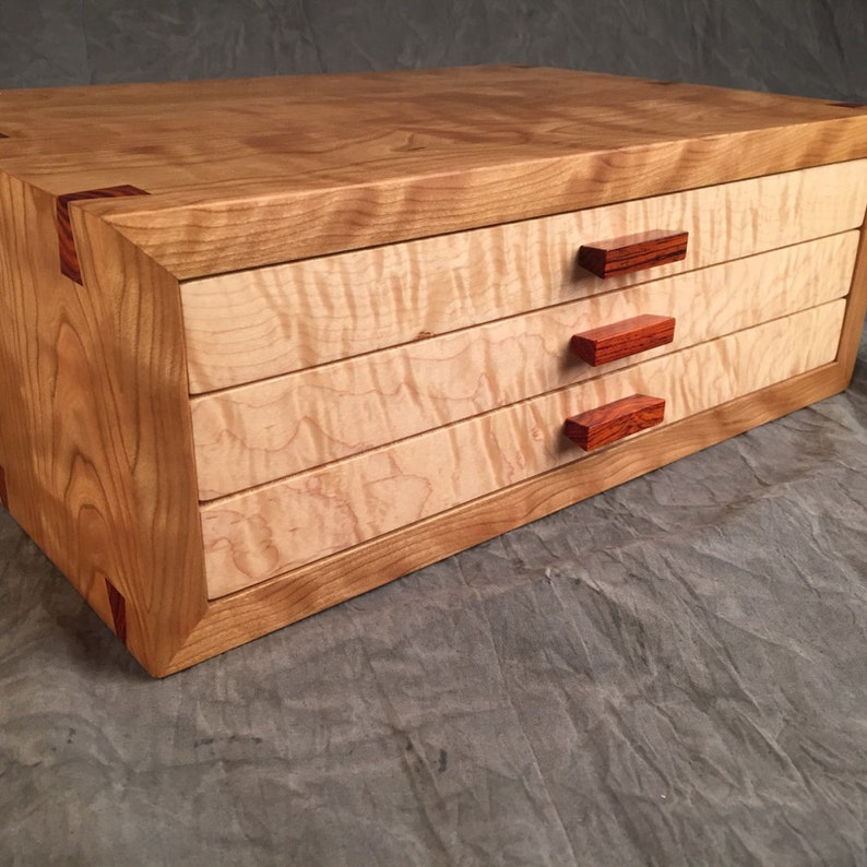 Large Jewelry BoxCurly Cherry Curly Maple Rosewood Jewelry image 0