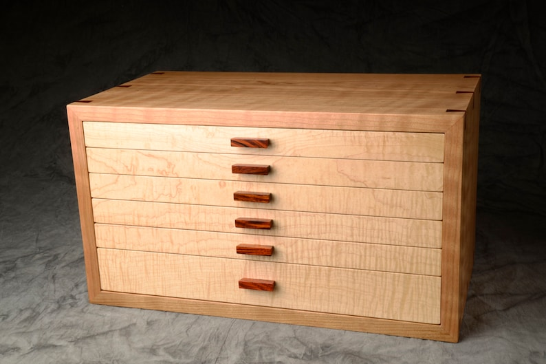 Large Jewelry Box Curly Cherry Curly Sugar Maple & Rosewood image 0