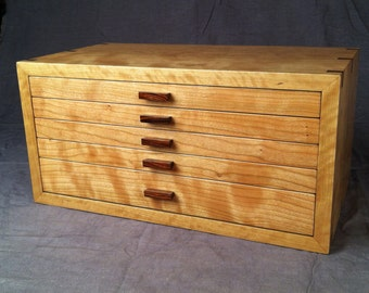 Jewelry Box--Large Curly Cherry and Rosewood Jewelry Box