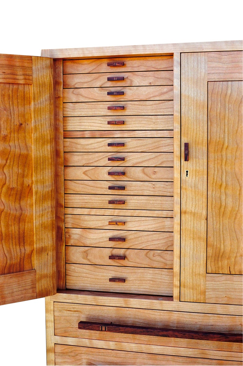 Curly Cherry & Rosewood Jewelry Cabinet-Marsha's Cabinet image 0