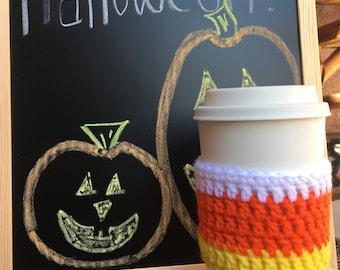 Candy Corn Crochet Coffee Cozy