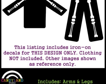 4408a6a7d9470 Arm & Leg Bones Iron on Decals for DIY X-Ray Pregnant Skeleton Costume  Matches Maternity Halloween Costume
