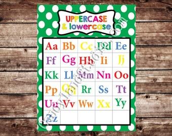 Printable Uppercase & Lowercase Alphabet Chart - Green - DIGITAL FILE
