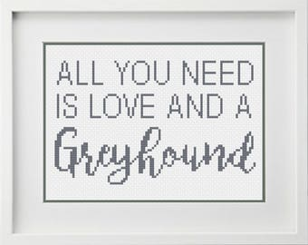 Seven Gnome's All you need is love and a greyhound pdf download cross stitch pattern
