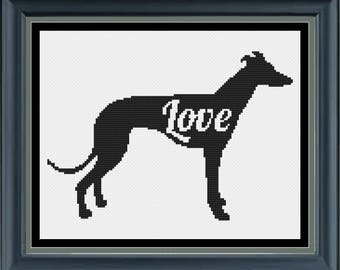 Seven Gnome's Greyhound Love Cross stitch PDF download pattern whippet sighthounds Galgo Espanol