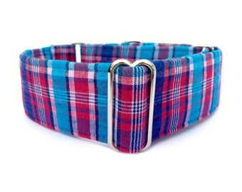 "The Eclectic Hound's Blue Raspberry Plaid Dog Collar - Adjustable 1"" or 1.5"" Soft Red, Blue and Turquoise Plaid Martingale or Buckle Collar"