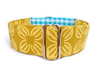 The Eclectic Hound's Farmhouse Daffodil Dog Collar - Yellow Daffodil + Aqua/White Gingham Plaid Country Girl Martingale or Buckle Collar