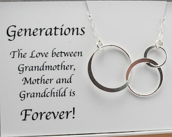 Generations Necklace New Grandmother Necklace Gift 3 Generation Jewelry Family Necklace 3 Circle Necklace Future Grandma GrandCHILD Sterling