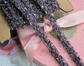 Purple Beaded Trim, AB Sequins,  Designer Beaded Trim, Dress Making, Metallic Trim