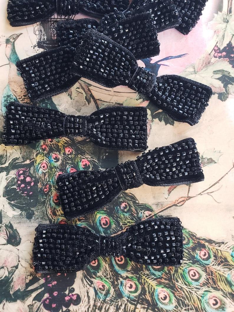 176d3b1ecfea Vintage Black Velvet Beaded Bow Applique embellishment | Etsy