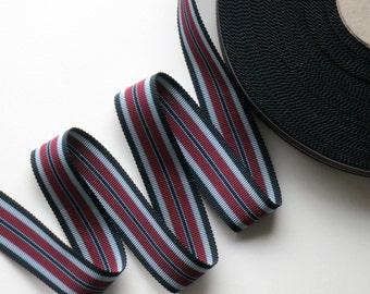 1Y Vintage Stripe Grosgrain Ribbon Black and Burgundy