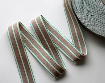 1Y Vintage Grosgrain Ribbon Stripe Mocha and Green