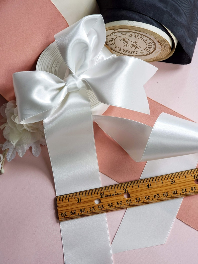 sewing wedding bridal Ivory Satin Ribbon 2 inch Wide sash ribbon Double Faced trim millinery
