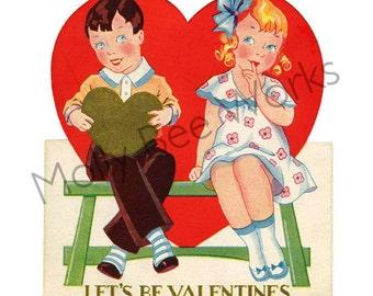 Vintage Valentine Instant Digital Download 1950's Girl & Boy