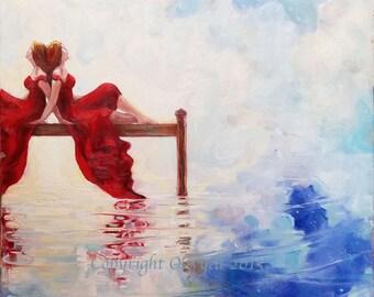 Vision, Dream Painting, Oil, Original, Surrealism, Portrait, Fine Art, Shamanistic, Landscape,  Reflections, Water, Portrait, Large
