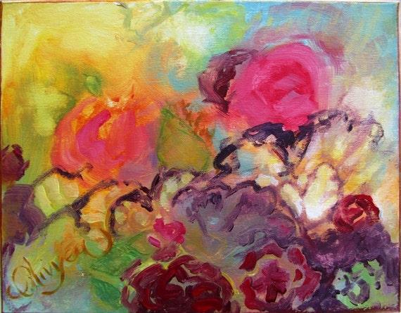 Zeer Abstract bloemen schilderij in acryl tuin bloemen bij | Etsy #ZG12