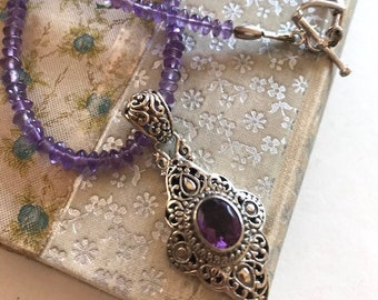 Amethyst Pendant Necklace - Amethyst & Sterling Bali Pendant - Amethyst Gemstone Necklace - Bali Pendant Necklace