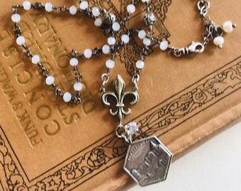 Antique French Charm Necklace With Moonstone Rosary Chain - Moonstone Beaded Necklace - Rosary Chain Necklace