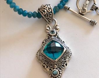 Apatite Necklace-Mystic Quartz Topaz Pendant Necklace-Bali Silver Pendant
