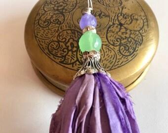 Sari Silk Tassel Necklace-Orchid Tassel-Bohemian Tassel Jewelry