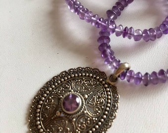 Amethyst Necklace With Sterling Filigree Pendant-Amethyst Gemstone Necklace