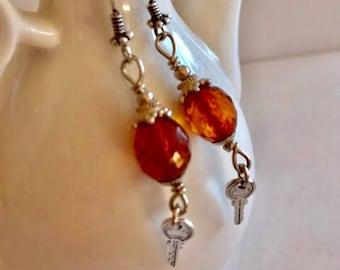 Tiny Key & Amber Earrings-Amber Earrings
