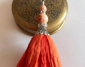 Sari Silk Tassel Necklace-Orange Tassel-Boho Tassel
