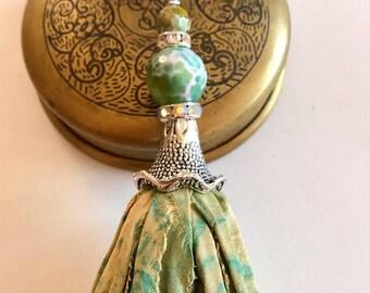 Sari Silk Tassel Necklace-Green & Gold Tassel-Boho Tassel Jewelry