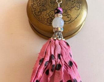 Sari Silk Tassel Necklace-Pink Polka Dot Tassel-Bohemian Tassel Jewelry